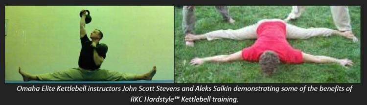 Omaha Elite Kettlebell Instructors John Scott Stevens and Aleks Salkin demonstrating versions of the splits. Just some of the benefits of Hardstyle Kettlebell training