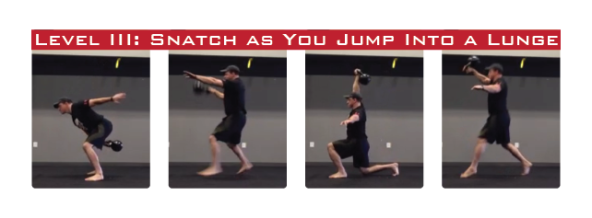 Kettlebell Snatch into a jumping lunge